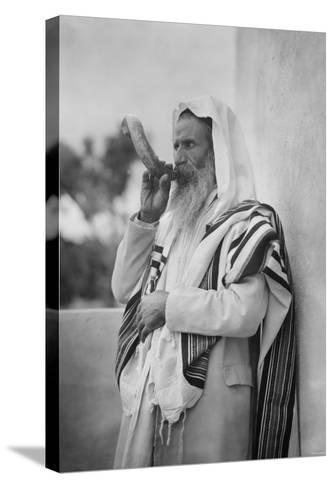 Rabbi Blowing the Shofar--Stretched Canvas Print