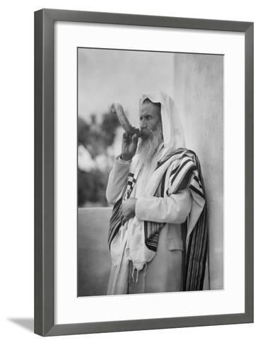 Rabbi Blowing the Shofar--Framed Art Print