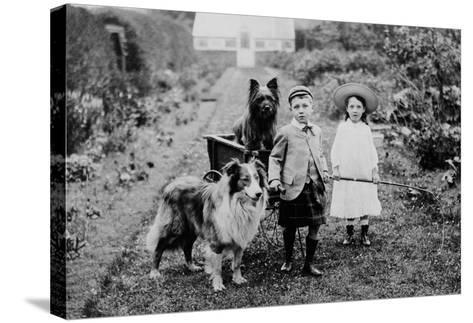 Boy and Girls with Two Dogs and a Wagon--Stretched Canvas Print