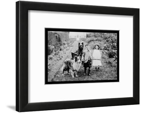 Boy and Girls with Two Dogs and a Wagon--Framed Art Print