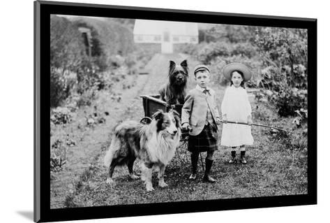 Boy and Girls with Two Dogs and a Wagon--Mounted Photo