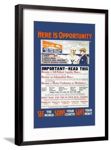 U.S. Navy: See the World, Serve your Country, Save your Money, c.1914--Framed Art Print