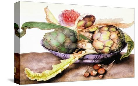 Chinese Dish with Artichokes, A Rose and Strawberries-Giovanna Garzoni-Stretched Canvas Print