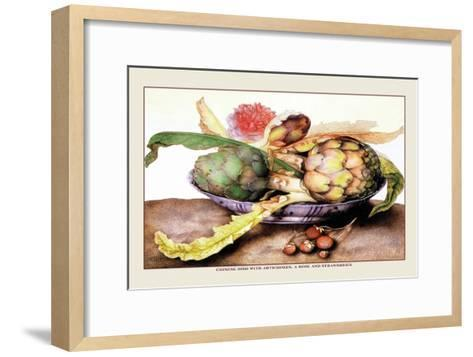 Chinese Dish with Artichokes, A Rose and Strawberries-Giovanna Garzoni-Framed Art Print
