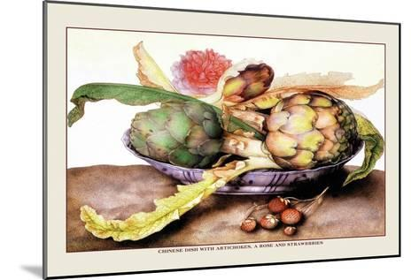 Chinese Dish with Artichokes, A Rose and Strawberries-Giovanna Garzoni-Mounted Art Print