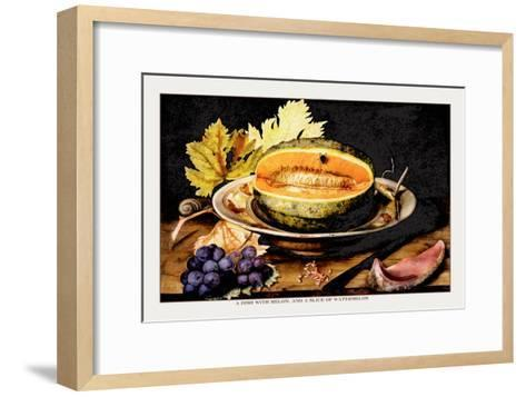 Dish with Melons and a Slice of Watermelon-Giovanna Garzoni-Framed Art Print