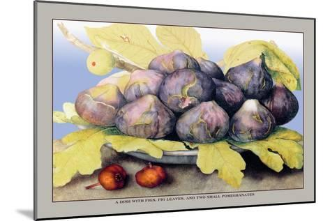 Dish with Figs, Fig Leaves and Small Pomegranates-Giovanna Garzoni-Mounted Art Print