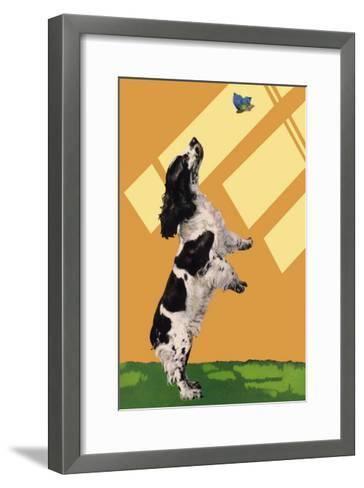The Cocker Spaniel Sees a Butterfly-Diana Thorne-Framed Art Print