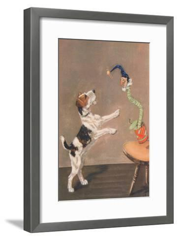 Playful Wire-Haired Terrier-Diana Thorne-Framed Art Print