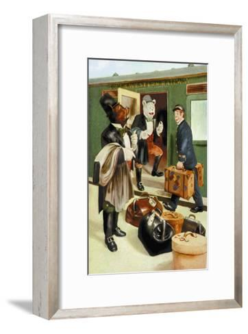 Teddy Roosevelt's Bears: Teddy B and Teddy G Riding Trains-R.k. Culver-Framed Art Print