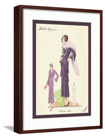 Modern Violet Dress with Boa--Framed Art Print