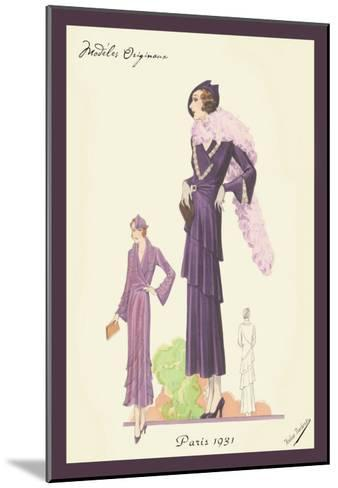 Modern Violet Dress with Boa--Mounted Art Print