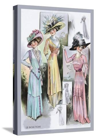 Le Bon Ton: A Trio in Pastels and Hats--Stretched Canvas Print