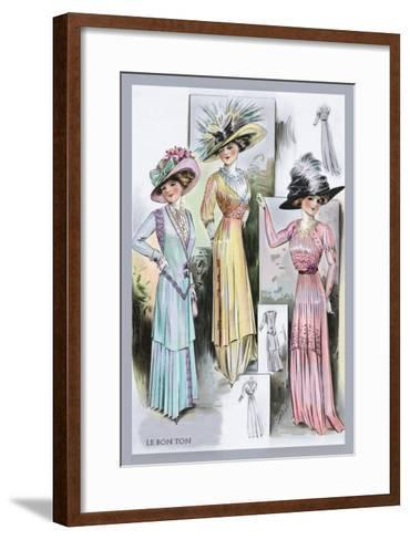 Le Bon Ton: A Trio in Pastels and Hats--Framed Art Print