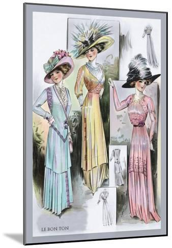Le Bon Ton: A Trio in Pastels and Hats--Mounted Art Print