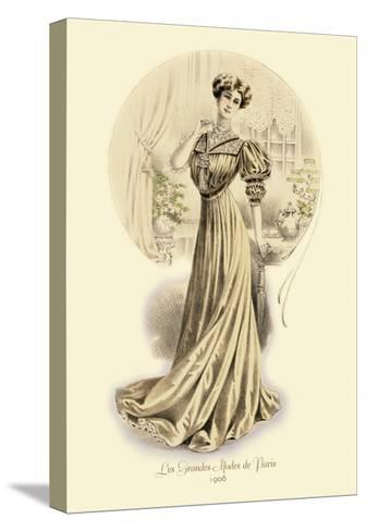 Le Grandes Modes de Paris: Golden Gown--Stretched Canvas Print