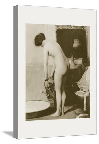 Pouring a Bath-P. Sezille Des Essarts-Stretched Canvas Print