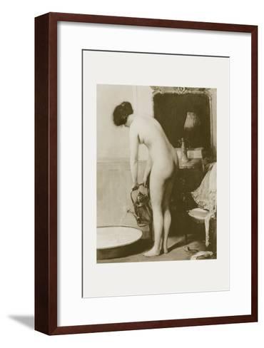Pouring a Bath-P. Sezille Des Essarts-Framed Art Print
