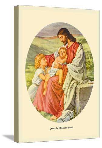 Jesus, The Children's Friend- Plockhorst-Stretched Canvas Print