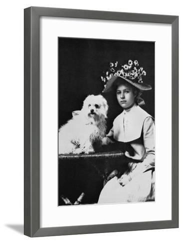 Woman in Bonnet with Maltese Terrier--Framed Art Print