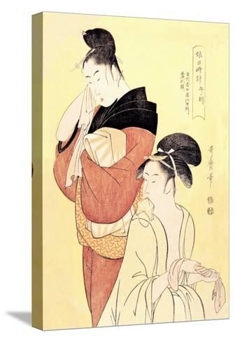 Midday Bath Preparations: The Hour of the Horse-Kitagawa Utamaro-Stretched Canvas Print