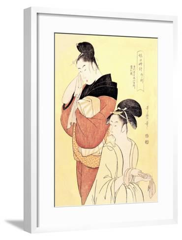 Midday Bath Preparations: The Hour of the Horse-Kitagawa Utamaro-Framed Art Print