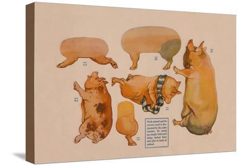 Paper Cutout Pig Dolls--Stretched Canvas Print
