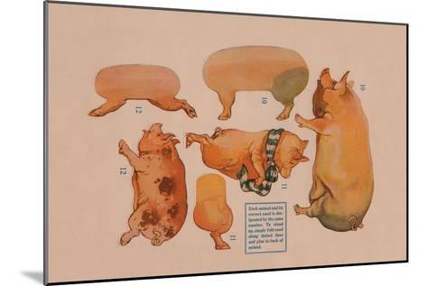 Paper Cutout Pig Dolls--Mounted Art Print
