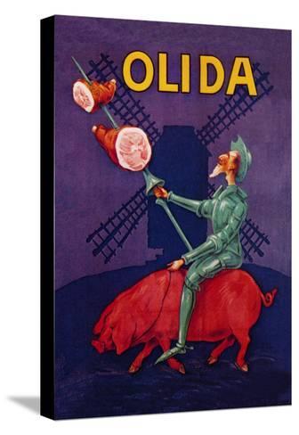 Don Quixote Riding a Pig--Stretched Canvas Print