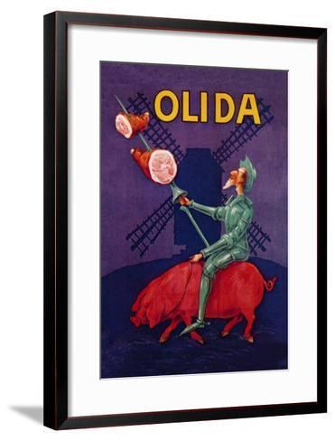 Don Quixote Riding a Pig--Framed Art Print