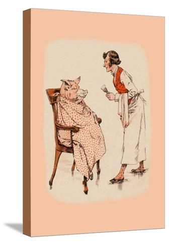 Shaving the Pig--Stretched Canvas Print