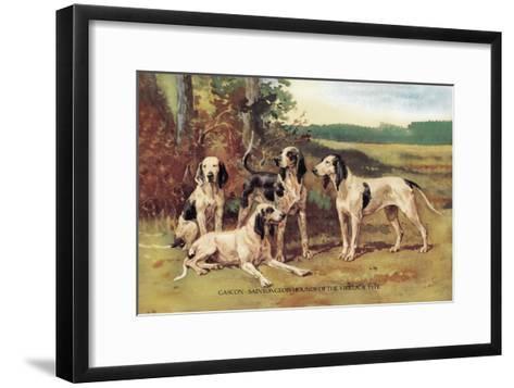 Gascon-Saintongeois Hounds of the Virelade Type-Baron Karl Reille-Framed Art Print