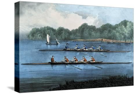 Boat Race-Currier & Ives-Stretched Canvas Print