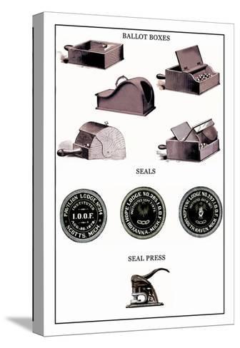 Odd Fellows: Ballot Boxes, Seals, Seal Press--Stretched Canvas Print