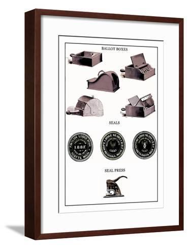Odd Fellows: Ballot Boxes, Seals, Seal Press--Framed Art Print