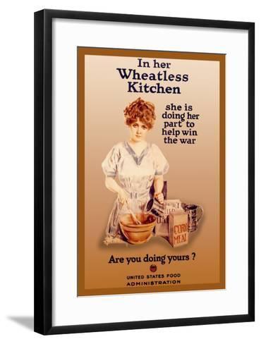 In Her Wheatless Kitchen-Howard Chandler Christy-Framed Art Print