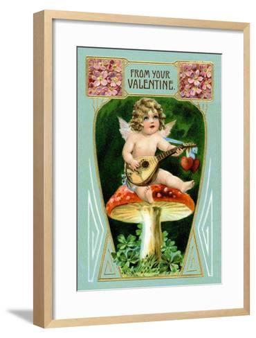 Angel with Mandolin and Mushrooms--Framed Art Print