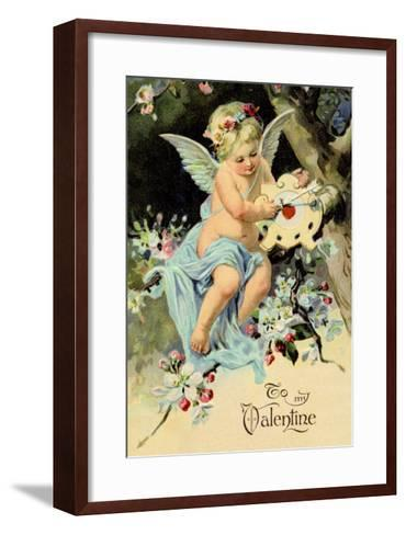 Floating Angel with Clock--Framed Art Print