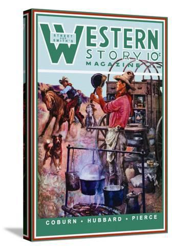 Western Story Magazine: Supper Time-Walter Kaskell Kinton-Stretched Canvas Print