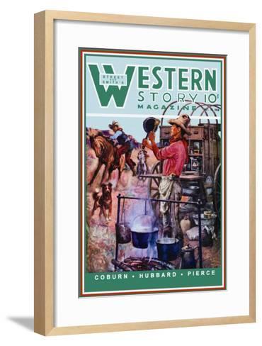 Western Story Magazine: Supper Time-Walter Kaskell Kinton-Framed Art Print