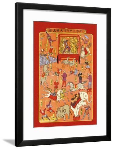 The Circus, Animals and Performers--Framed Art Print