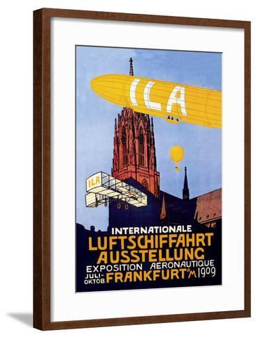I.L.A., Airship, Balloon and Plane Fly over a Cathedral in Frankfort Wor--Framed Art Print
