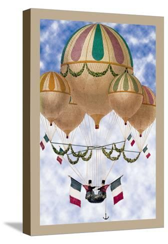 Balloon Flotill Highly Decorated Balloons Sport the Italian Flag and Its Colors--Stretched Canvas Print