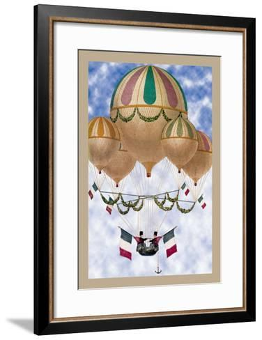 Balloon Flotill Highly Decorated Balloons Sport the Italian Flag and Its Colors--Framed Art Print