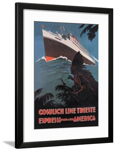 Trieste Cruise Line to North and South America-A. Dondov-Framed Art Print