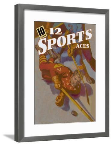 Hockey Player Down on the Ice--Framed Art Print