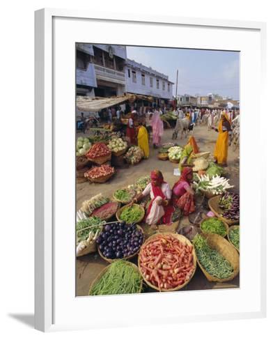 Fruit and Vegetable Sellers in the Street, Dhariyawad, Rajasthan State, India-Robert Harding-Framed Art Print