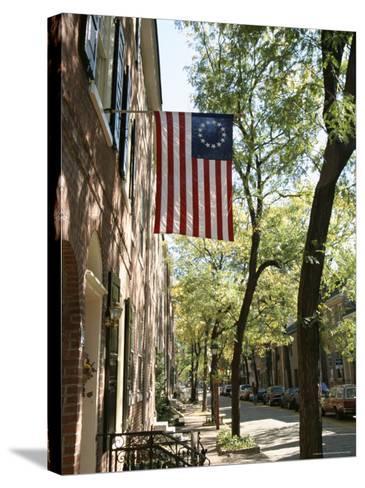 Historic Flag, Society Hill, Philadelphia, Pennsylvania, USA-Ken Gillham-Stretched Canvas Print