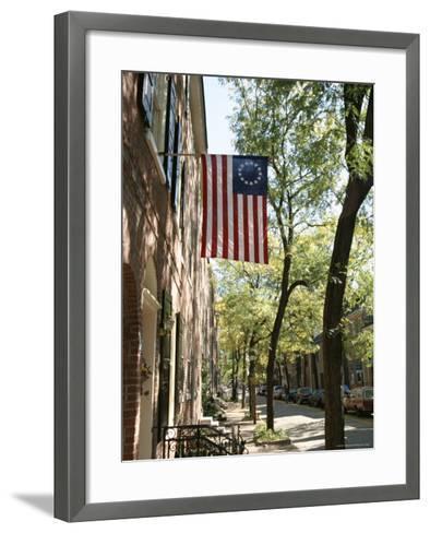 Historic Flag, Society Hill, Philadelphia, Pennsylvania, USA-Ken Gillham-Framed Art Print