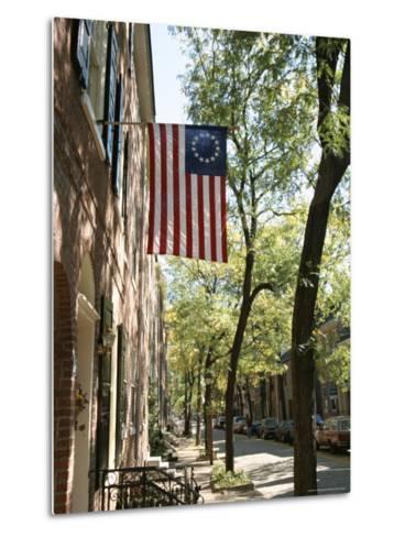 Historic Flag, Society Hill, Philadelphia, Pennsylvania, USA-Ken Gillham-Metal Print